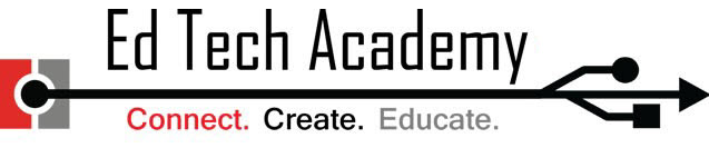 Ed Tech Logo. Has Ed Tech Academy on top line then Connect. Create. Educate under it.